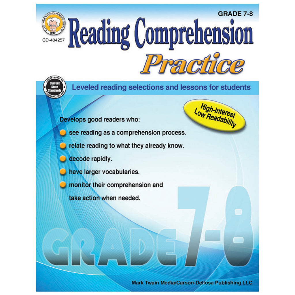 Carson Dellosa Reading Comprehension Practice Resource Book, Grades 7-8