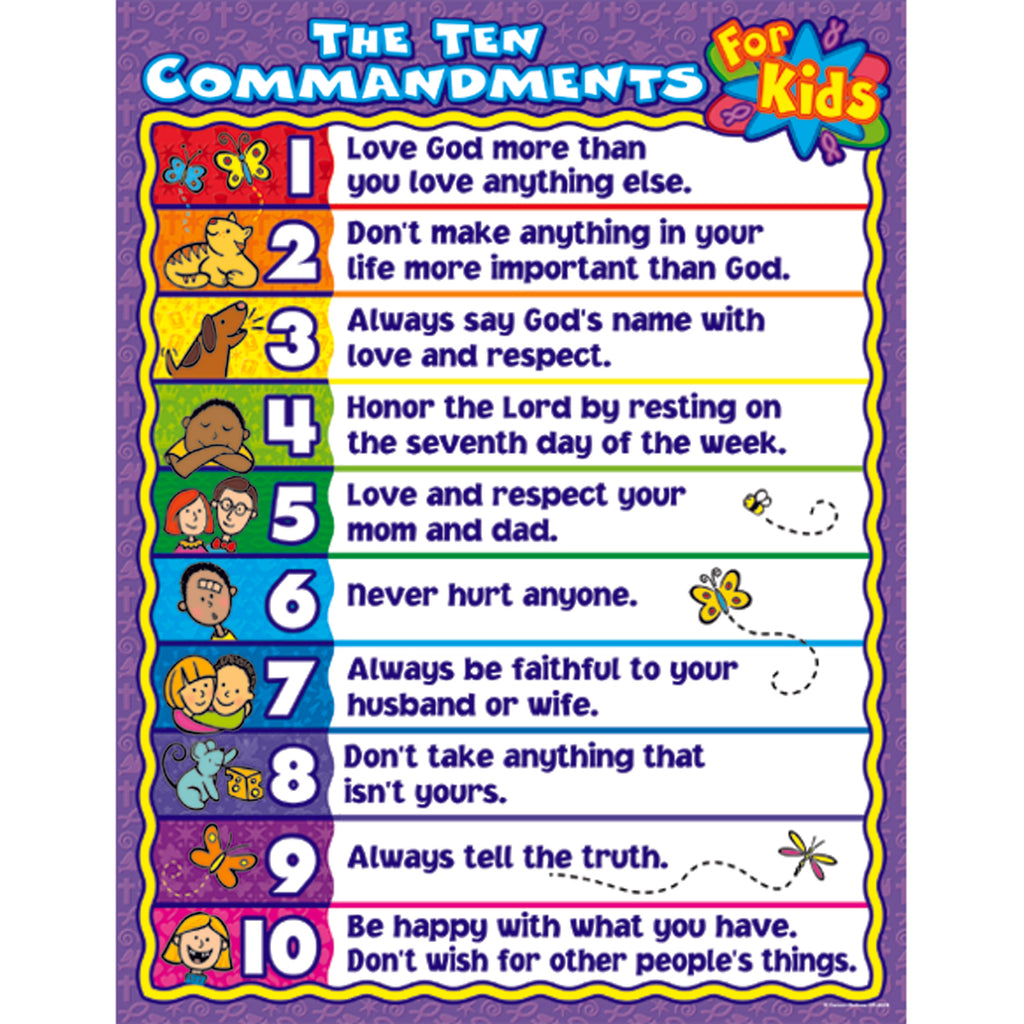 Carson Dellosa The Ten Commandments for Kids Chart