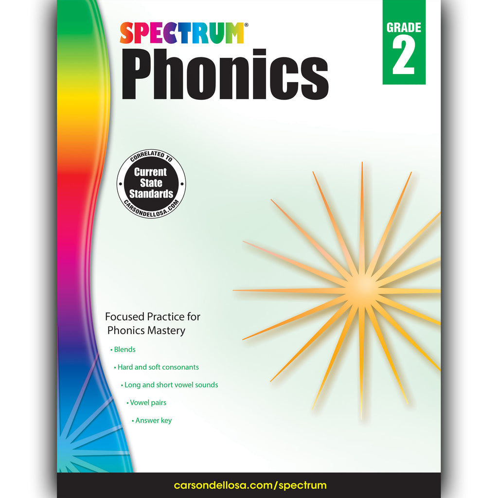 Carson Dellosa Spectrum Phonics Workbook, Grade 2