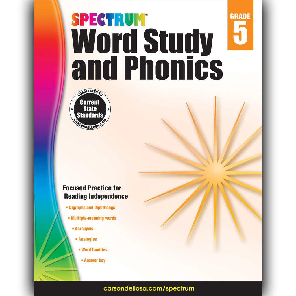 Carson Dellosa Spectrum Word Study and Phonics Workbook, Grade 5