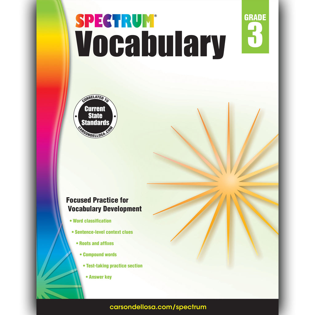 Carson Dellosa Spectrum Vocabulary Workbook, Grade 3