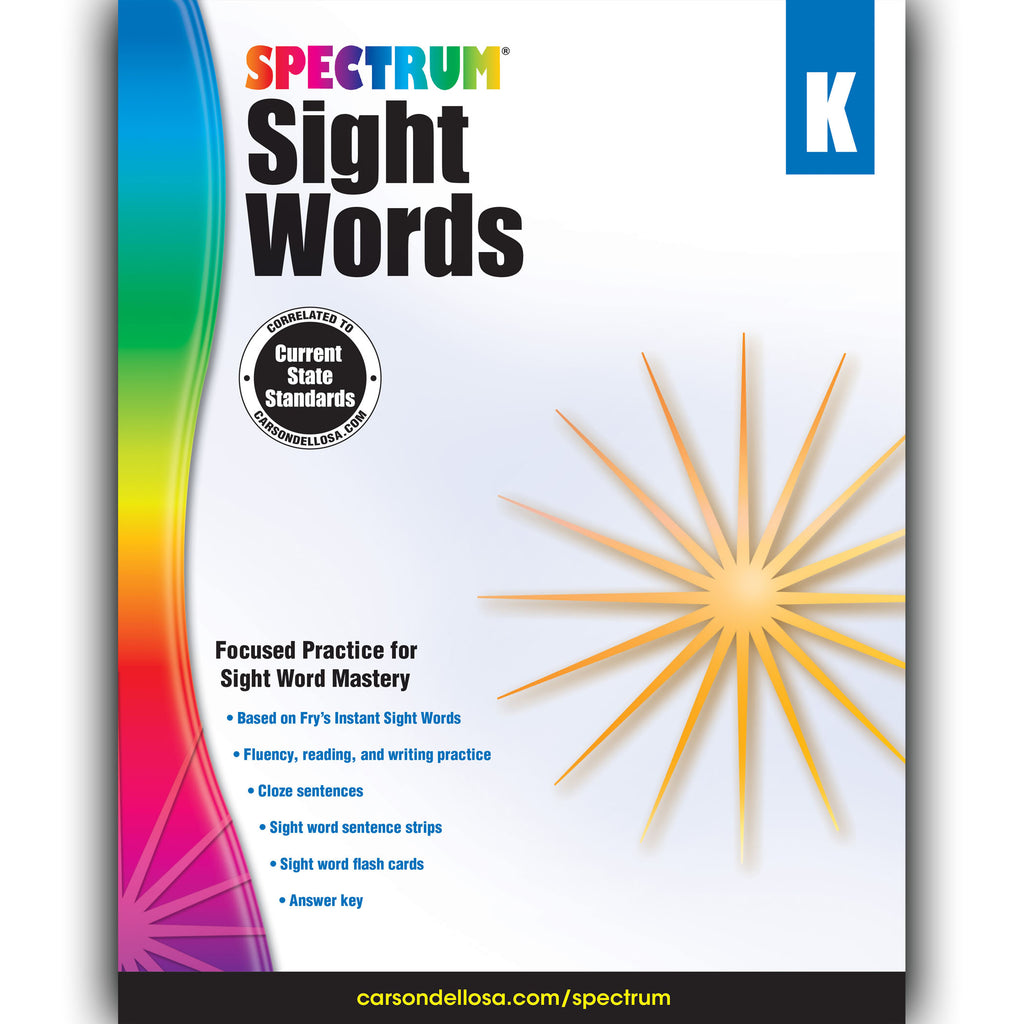 Carson Dellosa Spectrum Sight Words Workbook, Grade K