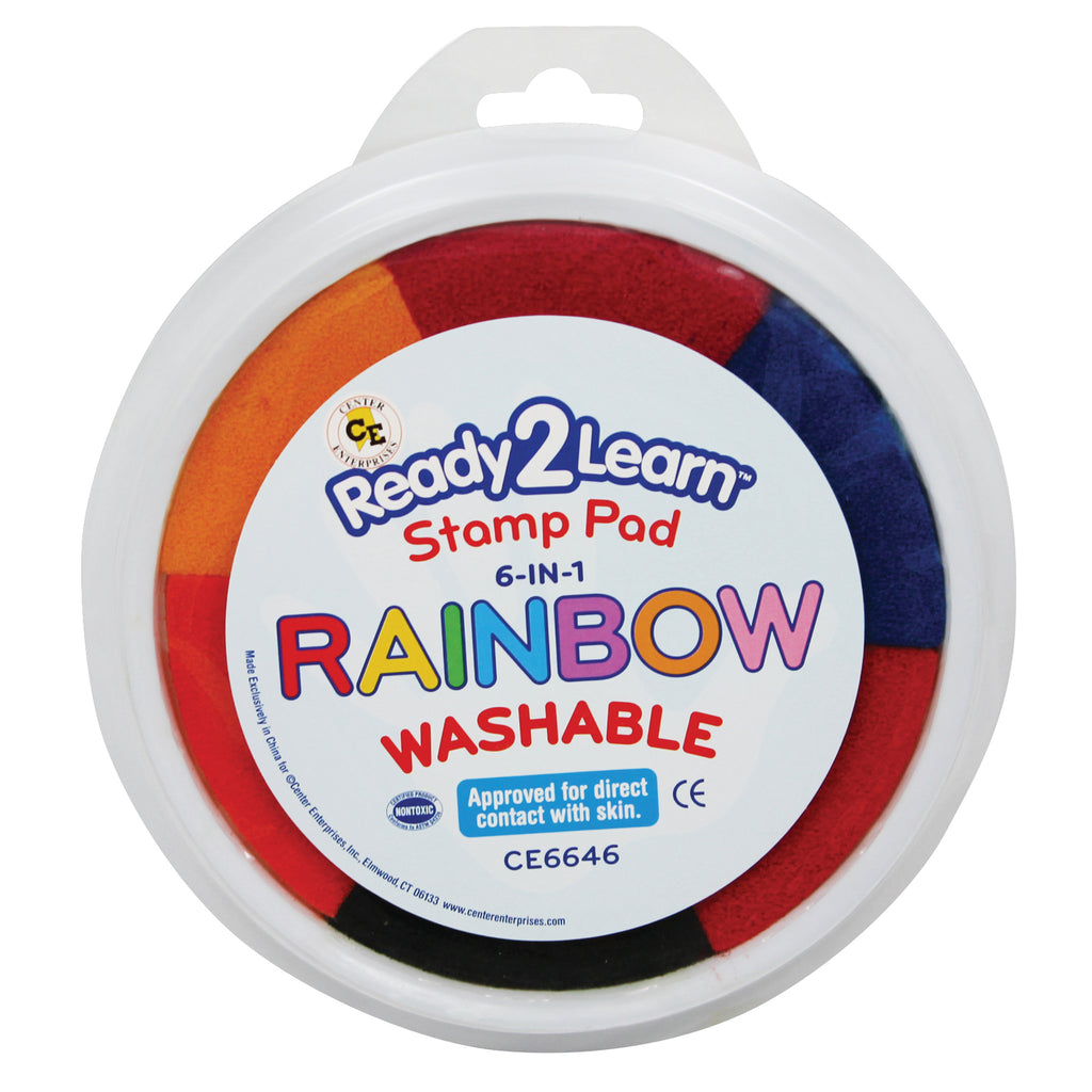Center Enterprises Jumbo Washable Paint/Ink Stamp Pad-6 In 1 Rainbow