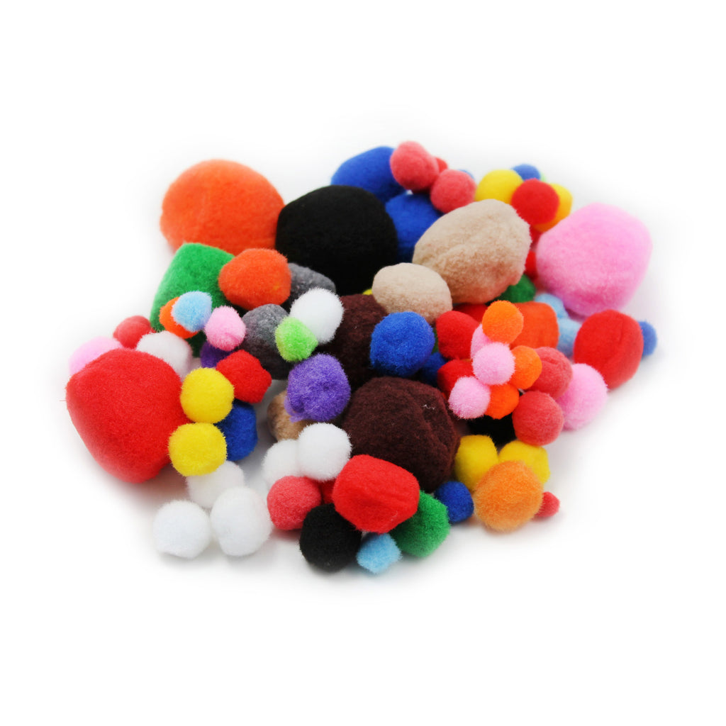 Charles Leonard Pom-Poms, Assorted Sizes & Colors, 100 Pieces