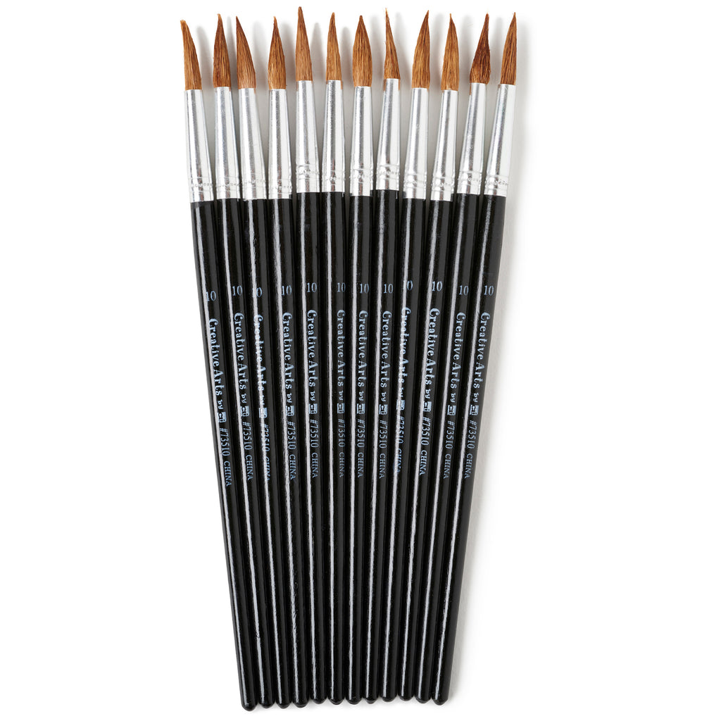 "Charles Leonard Water Color Pointed Round Brushes, Size #10 (15/16""), Long"