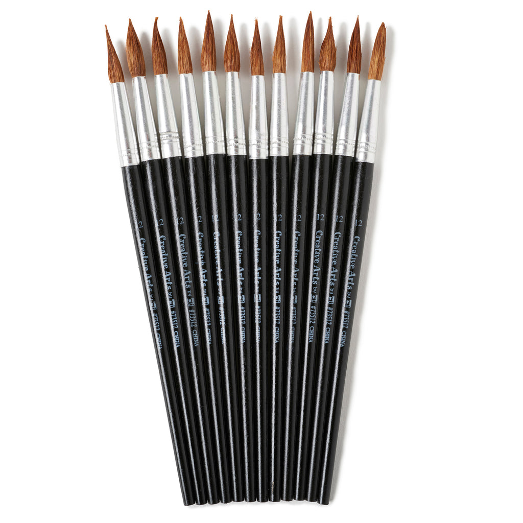 "Charles Leonard Water Color Pointed Round Brushes, Size #12 (1 1/16""), Long"