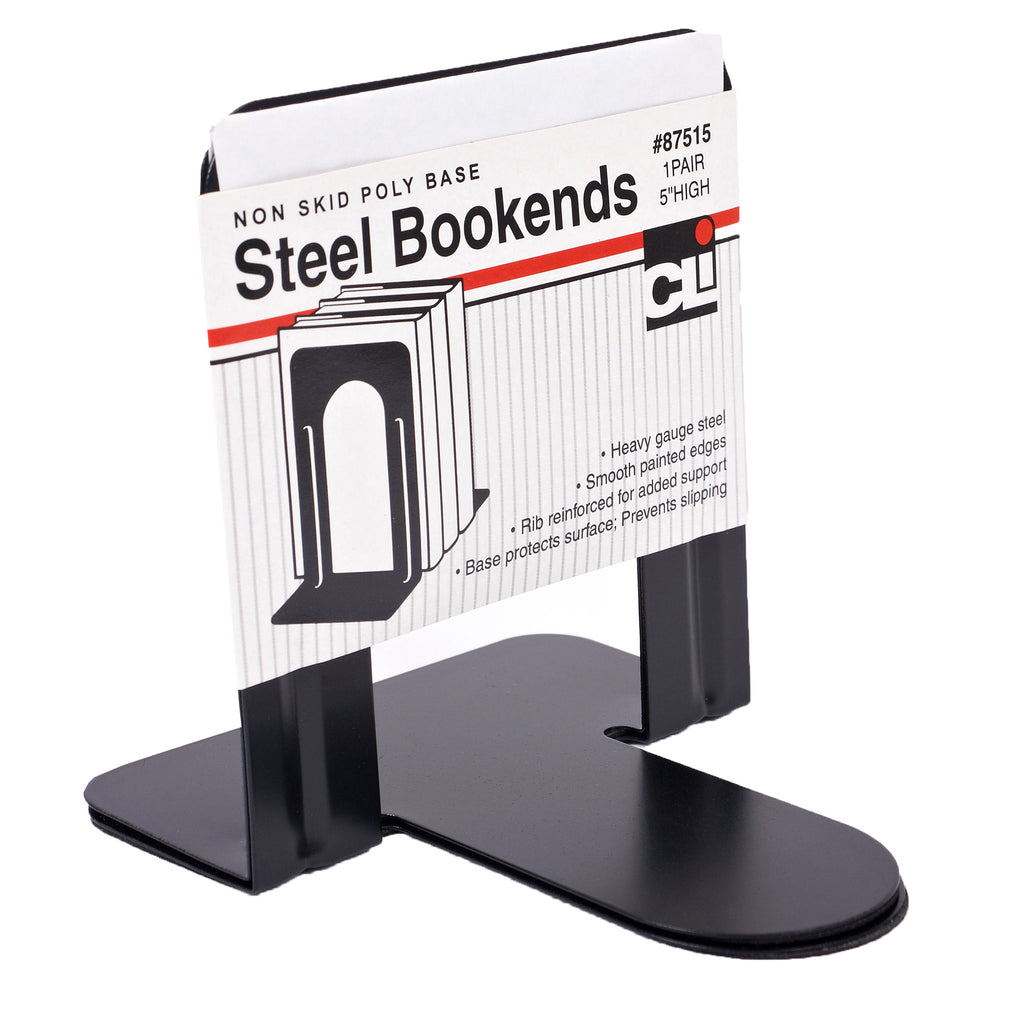 "Charles Leonard Black Bookends 5"" Steel, Non-Skid"