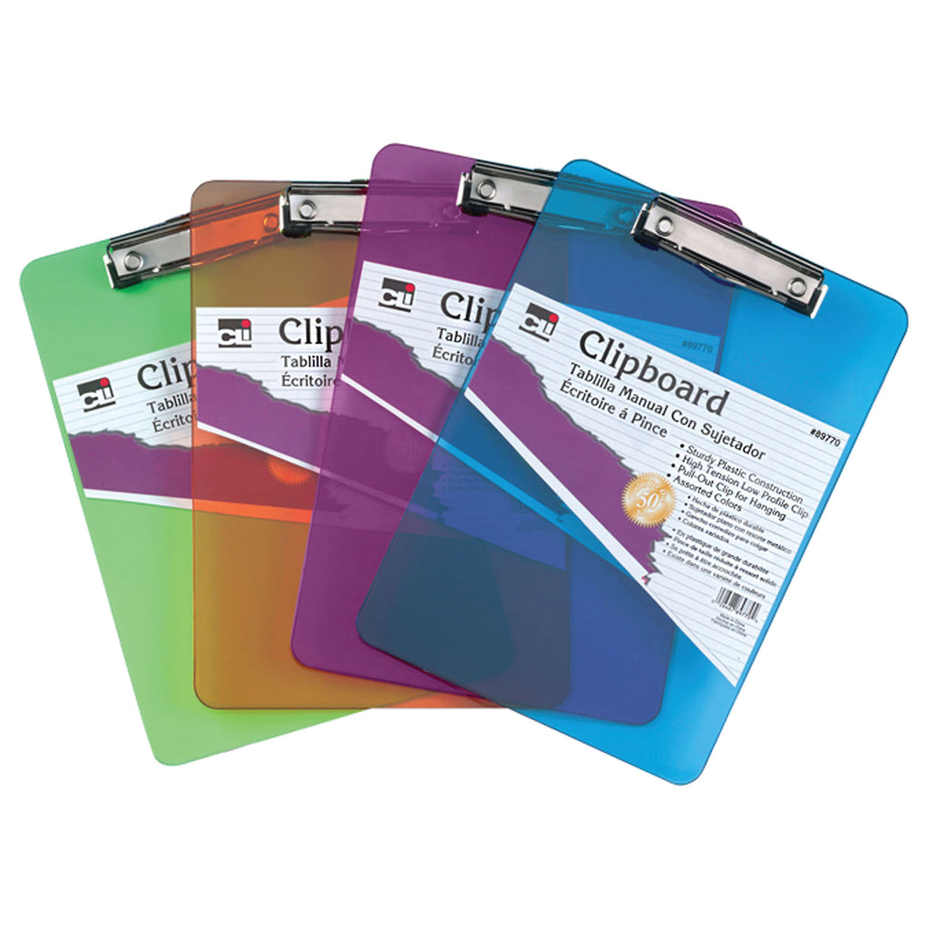 Charles Leonard Plastic Clipboard, Assorted Neon, 1 Per Pack