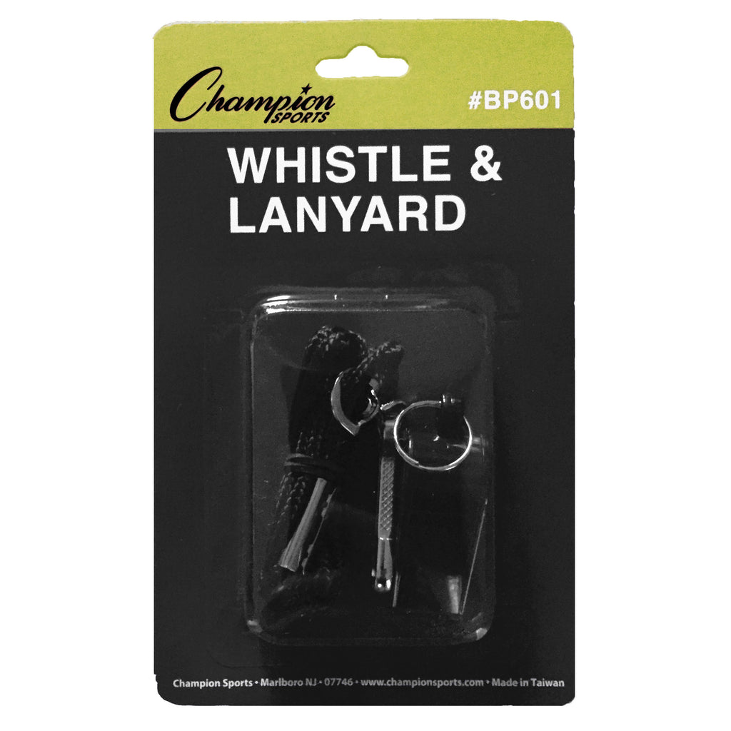 Champion Sports Plastic Whistle And Lanyard Set