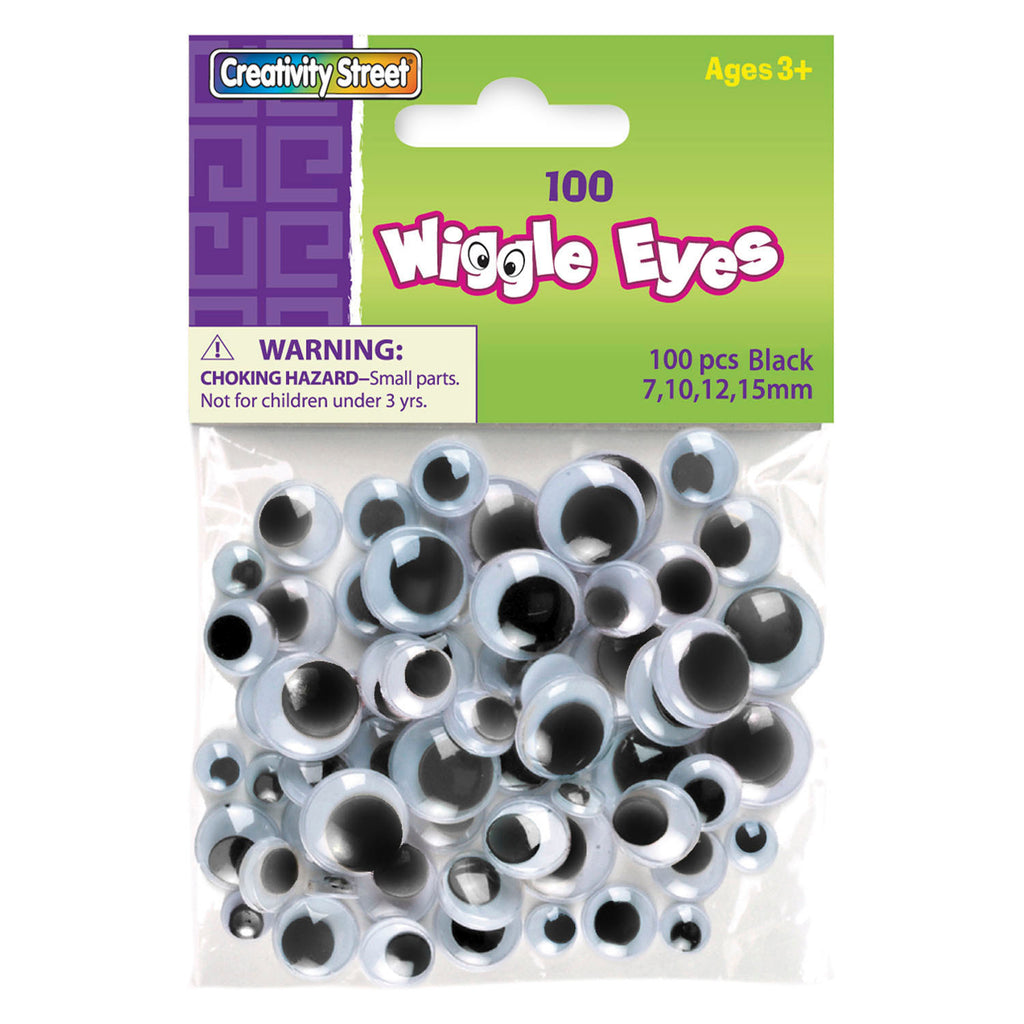 Chenille Kraft Wiggle Eyes - 100 Pieces - Black