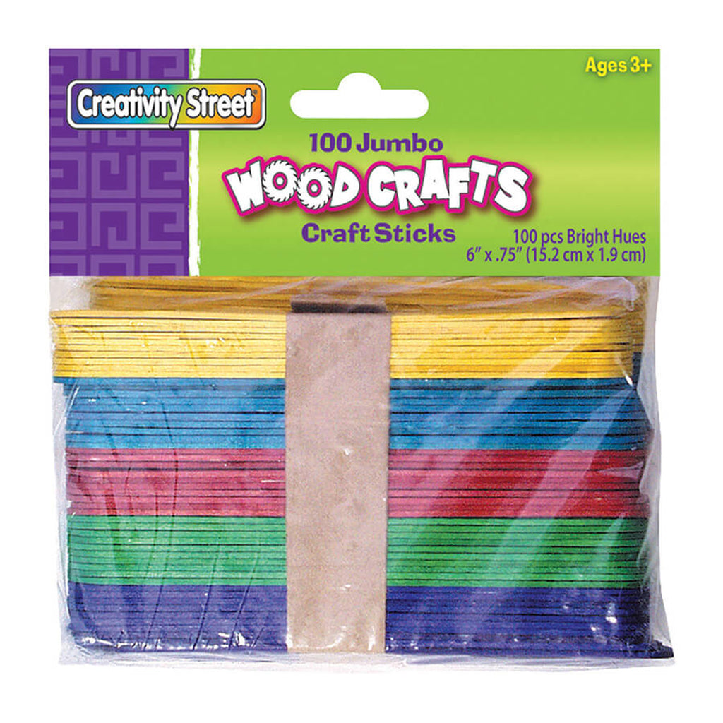 Chenille Kraft Jumbo Wood Craft Sticks - Bright - 100 Pieces