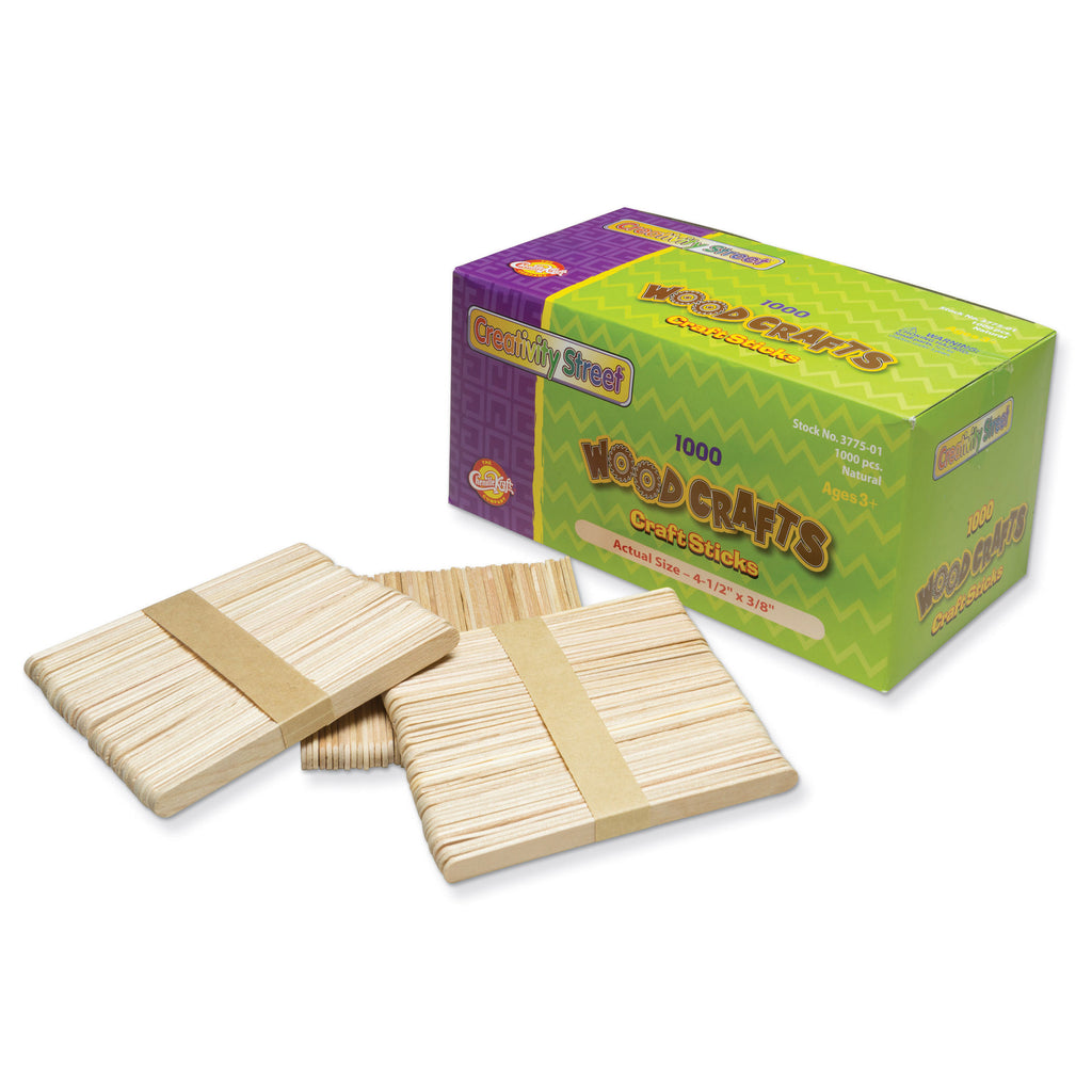 Chenille Kraft Wooden Craft Sticks - 1,000 Pieces Natural