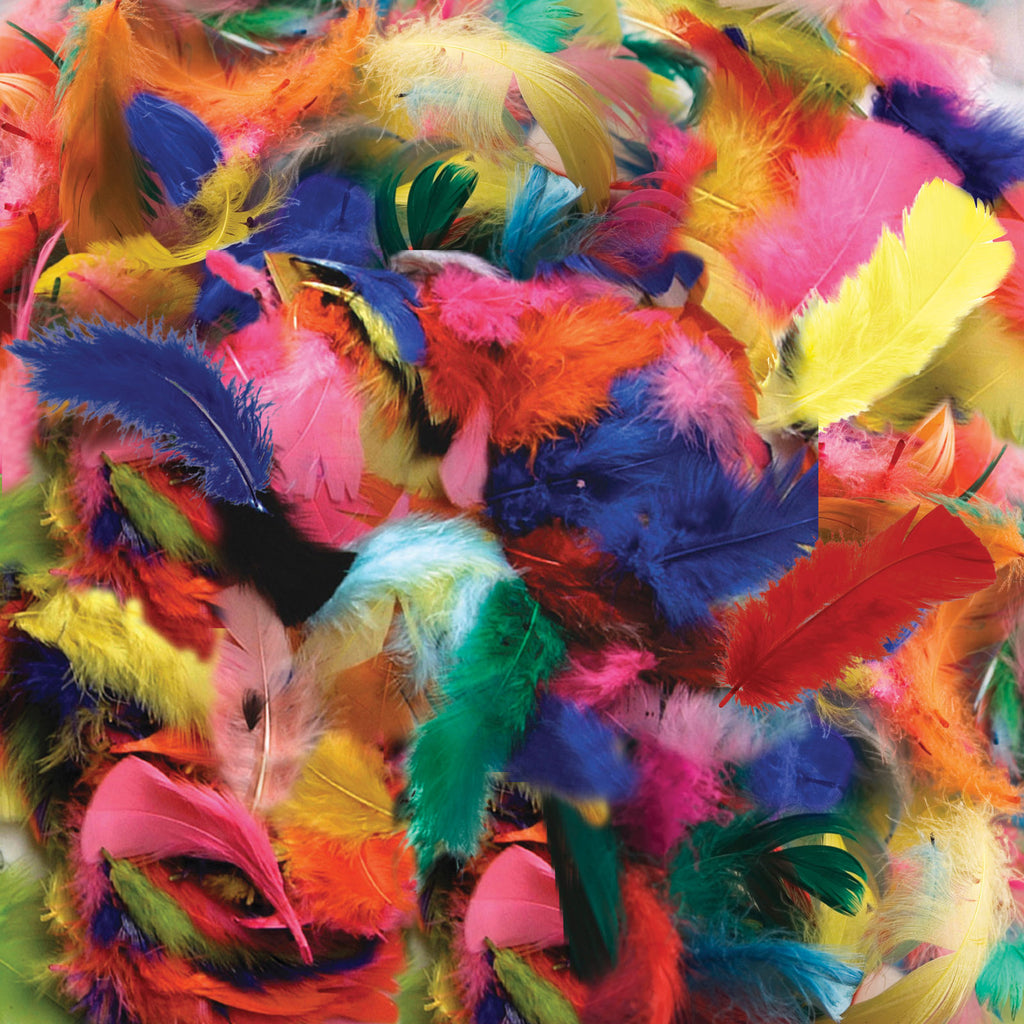 Chenille Kraft Feathers - Hot Colors - 125 Pieces