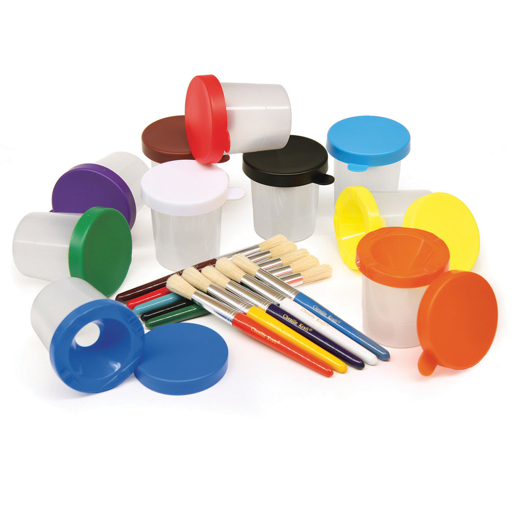 Chenille Kraft No Spill Paint Cup & Brush Set - 10 Pieces Each