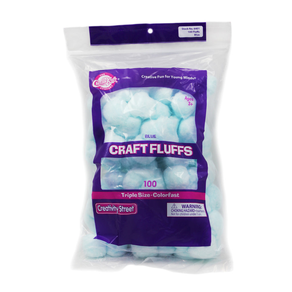 Chenille Kraft Craft Fluffs - Blue - 100 Pieces