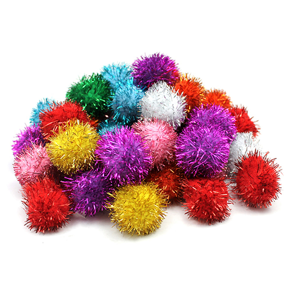 Chenille Kraft Glitter Poms - 40 Pieces - 1""