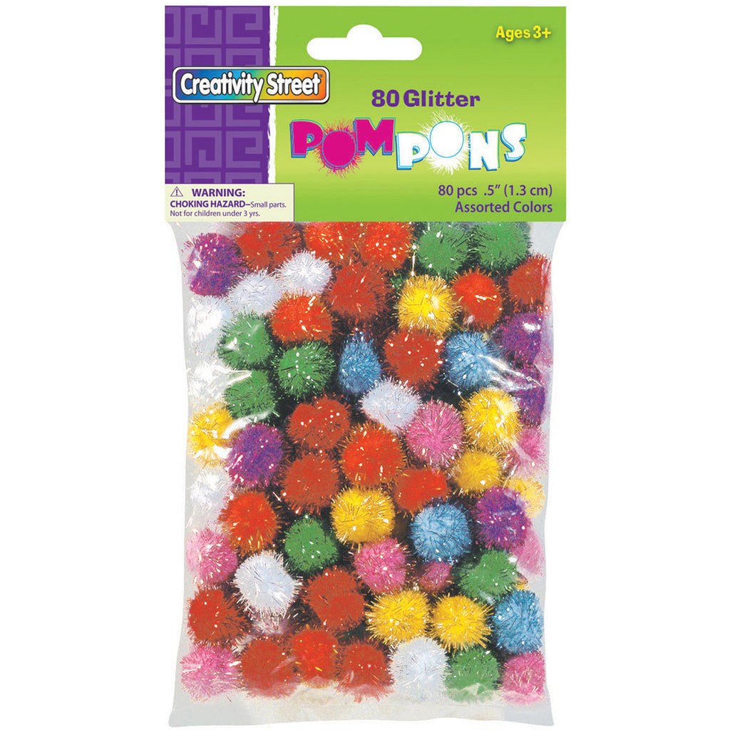 Chenille Kraft Glitter Poms - 80 Pieces - 1/2""