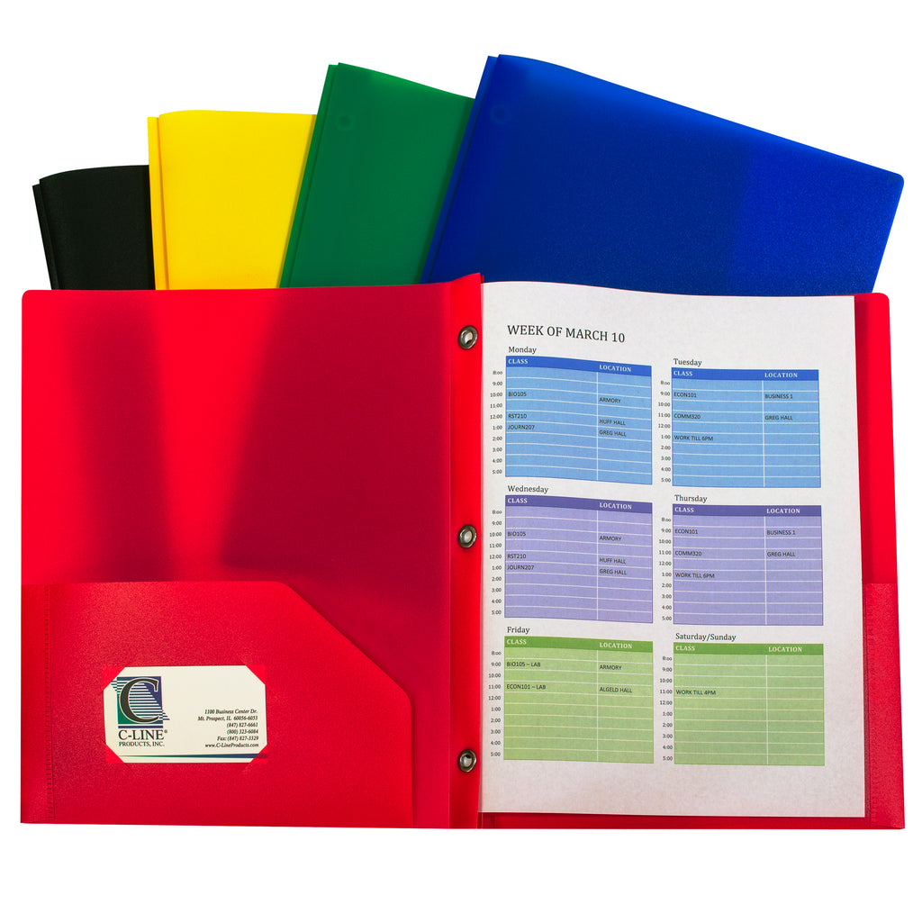 C-Line Products Two-Pocket Heavyweight Poly Portfolio Folder with Prongs, 10 Pack Assorted
