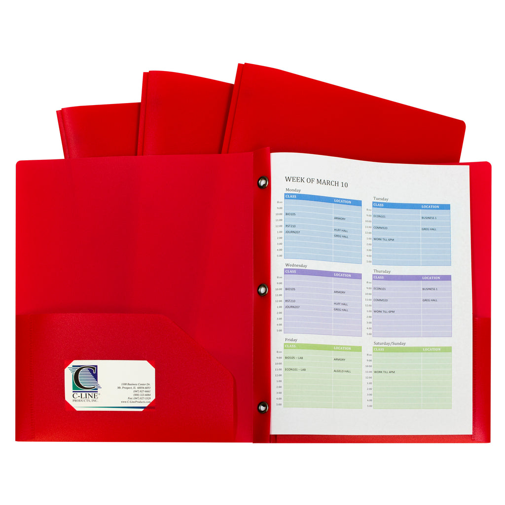 C-Line Products Two-Pocket Heavyweight Poly Portfolio Folder with Prongs, 10 Pack Red
