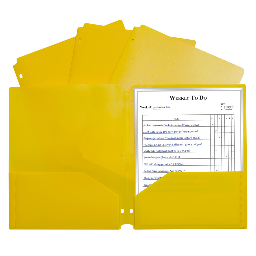 C-Line Products Two-Pocket Heavyweight Poly Portfolio Folder, Three-Hole Punch, Yellow