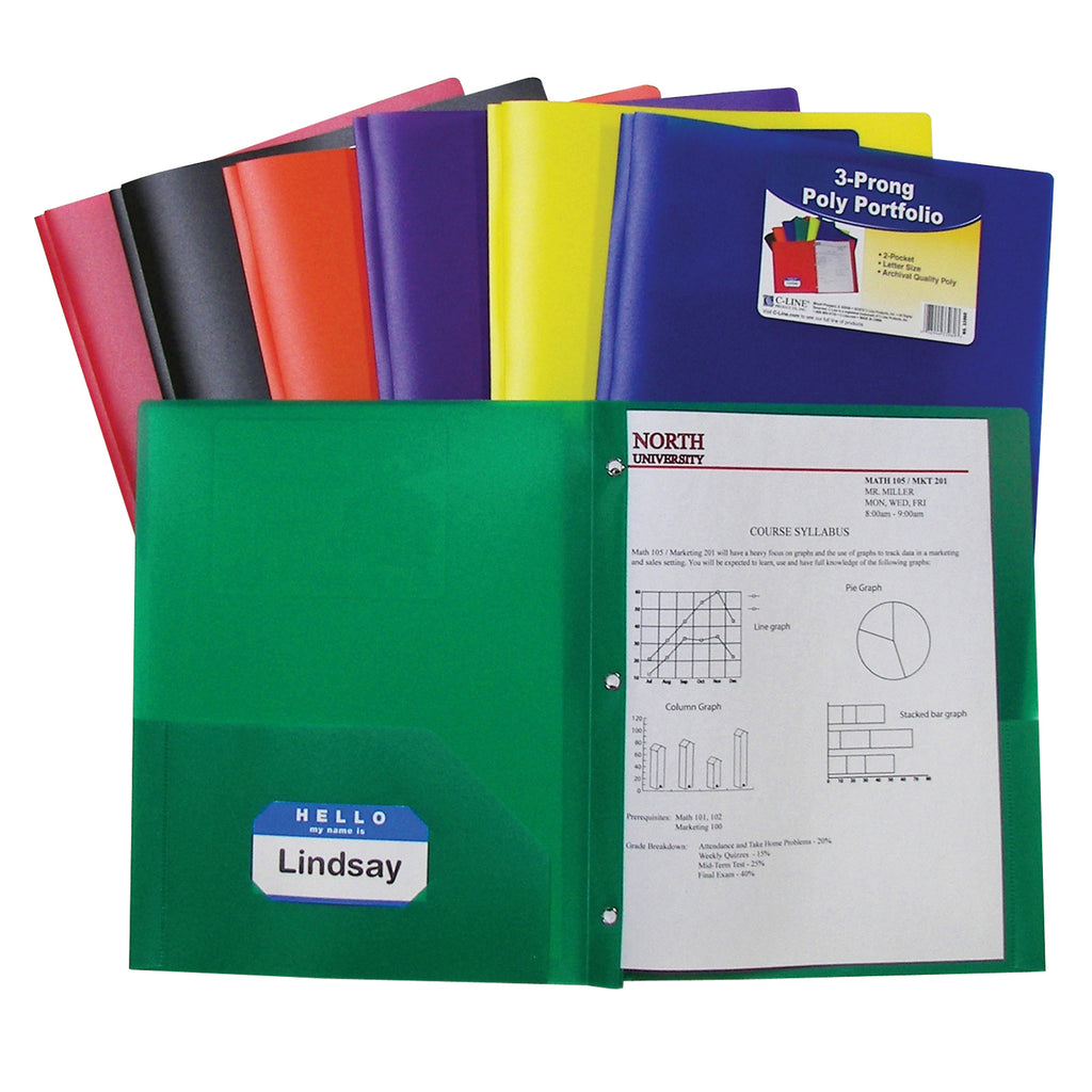 C-Line Products Two Pocket Poly Portfolios, 36 Per Box, Assorted With Prongs