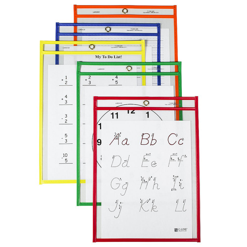 C-Line Products Reusable Dry Erase Pockets, 25 Per Box, Assorted Primary 9 x 12