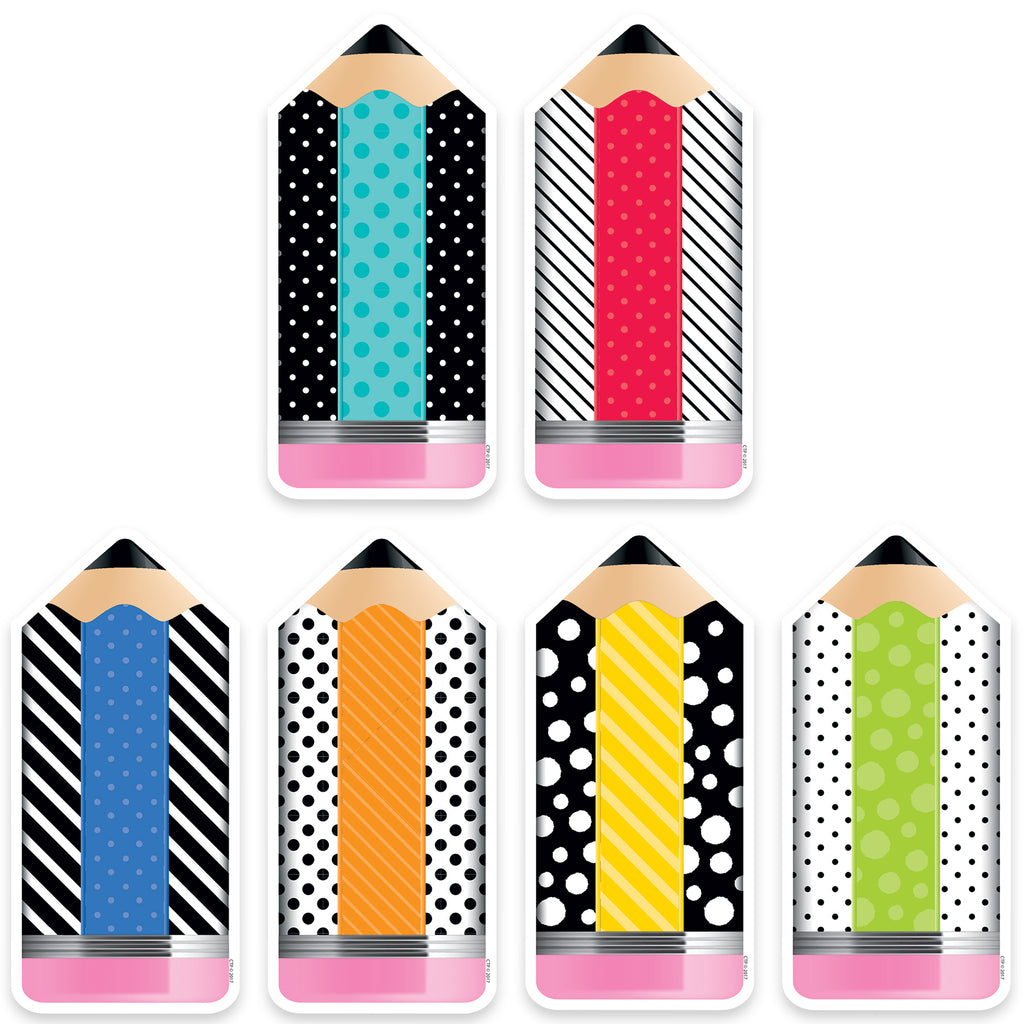"Creative Teaching Press Bold & Bright Striped & Spotted Pencils 6"" Designer Cut-Outs"