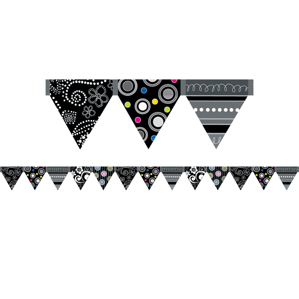Creative Teaching Press BW Collection Pennant Bulletin Board Border