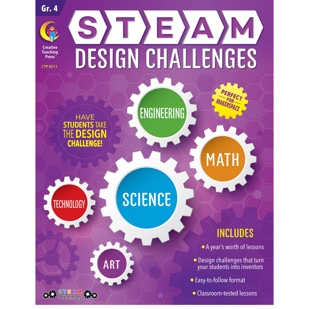 Creative Teaching Press STEAM Design Challenges Resource Book, Grade 4
