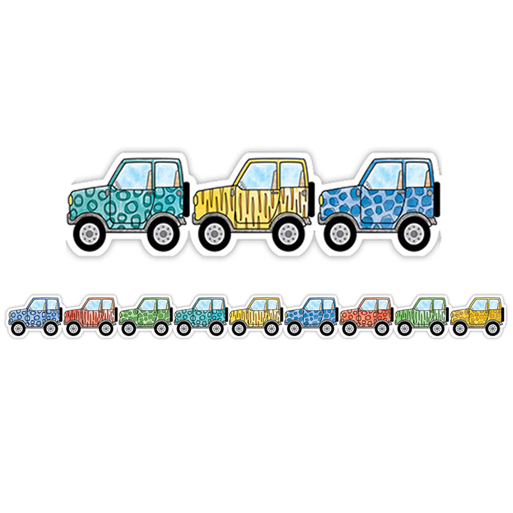 Creative Teaching Press Safari Friends Off-Road Vehicles Bulletin Board Border