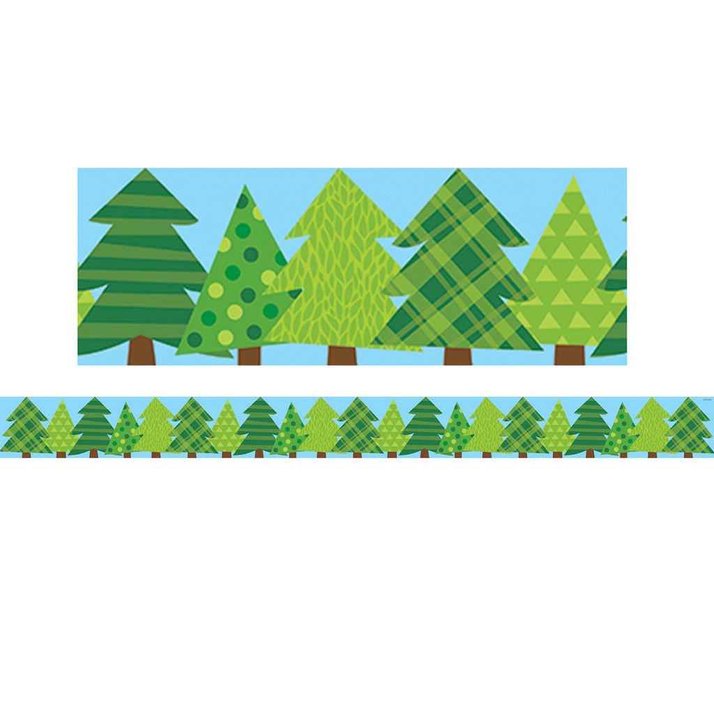 Creative Teaching Press Woodland Friends Patterned Pine Trees Bulletin Board Border