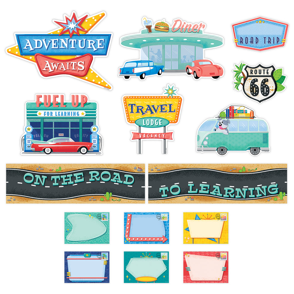 Creative Teaching Press Mid-Century Mod On the Road to Learning Mini Bulletin Board Set