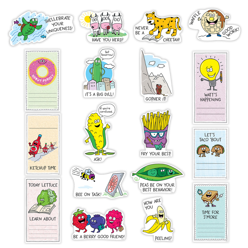 Creative Teaching Press So Much Pun! Positive Phrases and Reminders Mini Bulletin Board Set