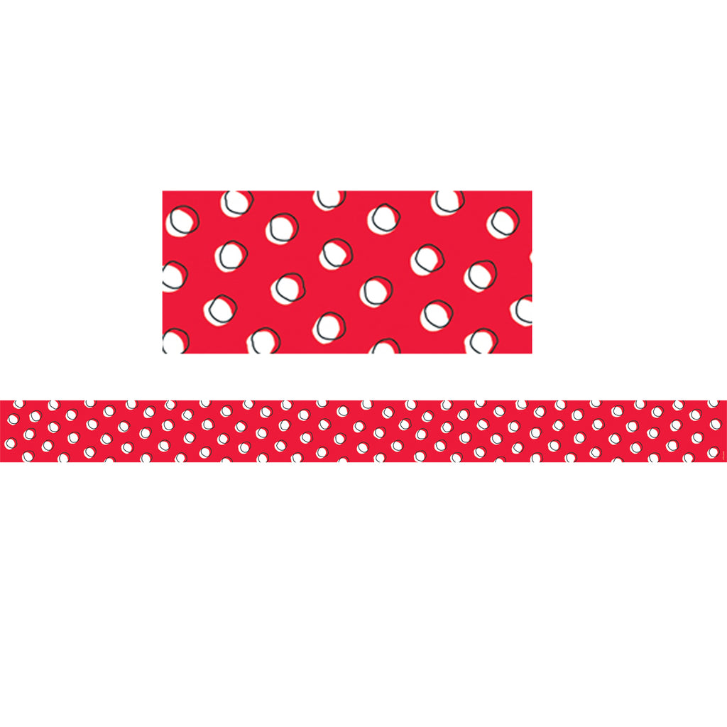 Creative Teaching Press Doodle Dots on Red Bulletin Board Border