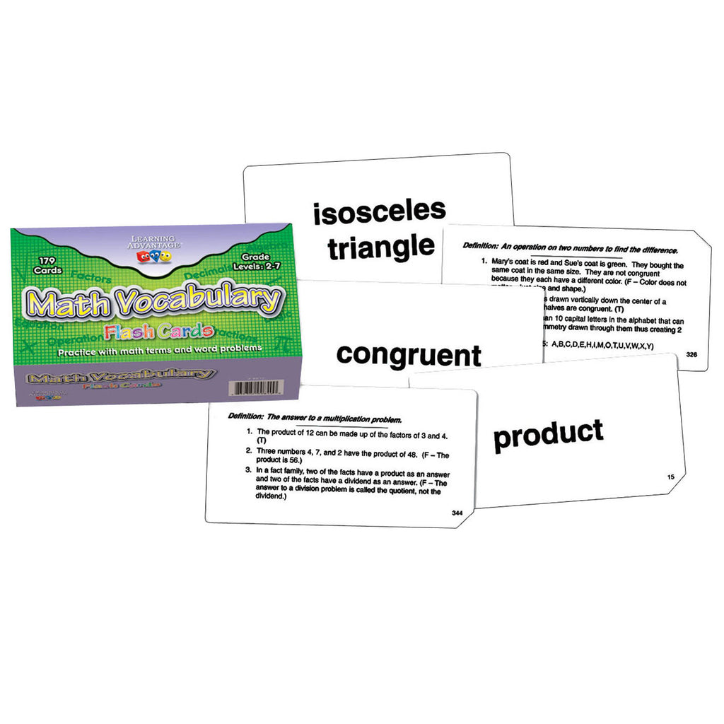 Learning Advantage Math Vocabulary Flash Cards
