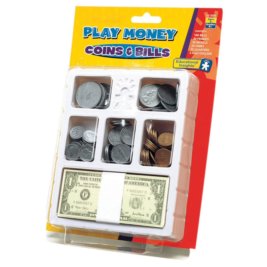 Educational Insights Lets Pretend Play Money Coins & Bills Tray