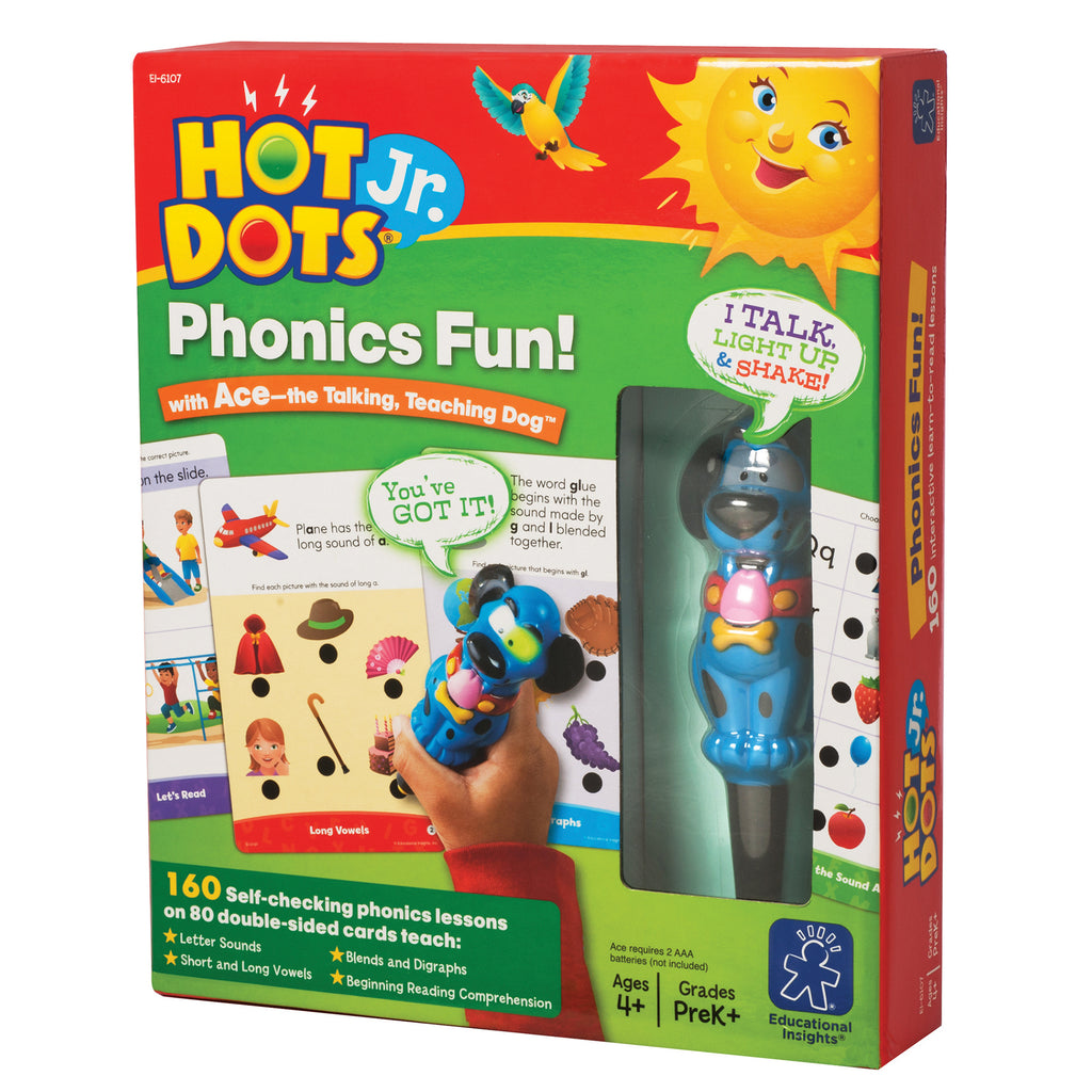 Educational Insights Phonics Fun 80 2-Sided Cards & Power Pen
