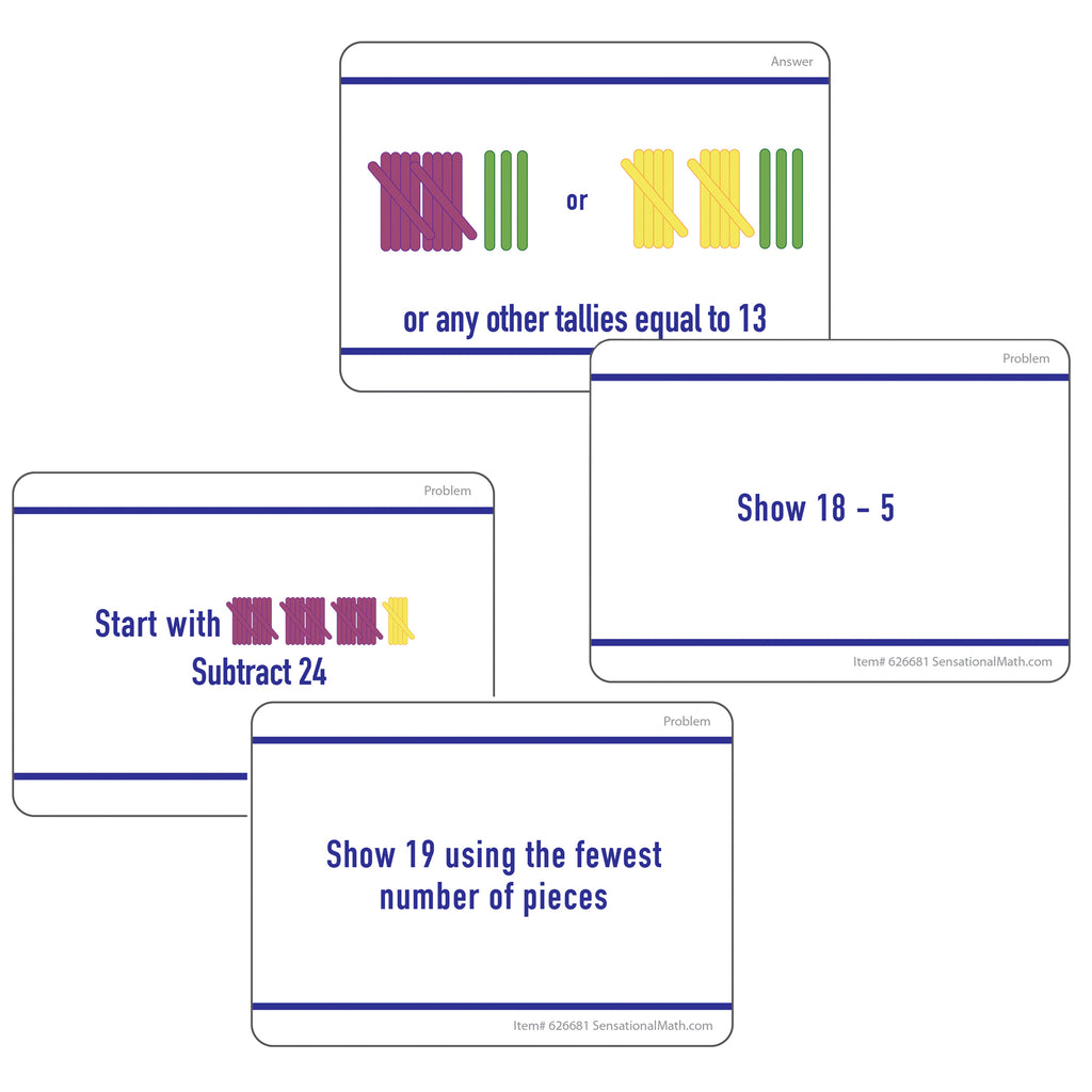 Essential Learning Products Sensational Math™ Hands-On Tally Marks™ Activity Cards, Grade 2