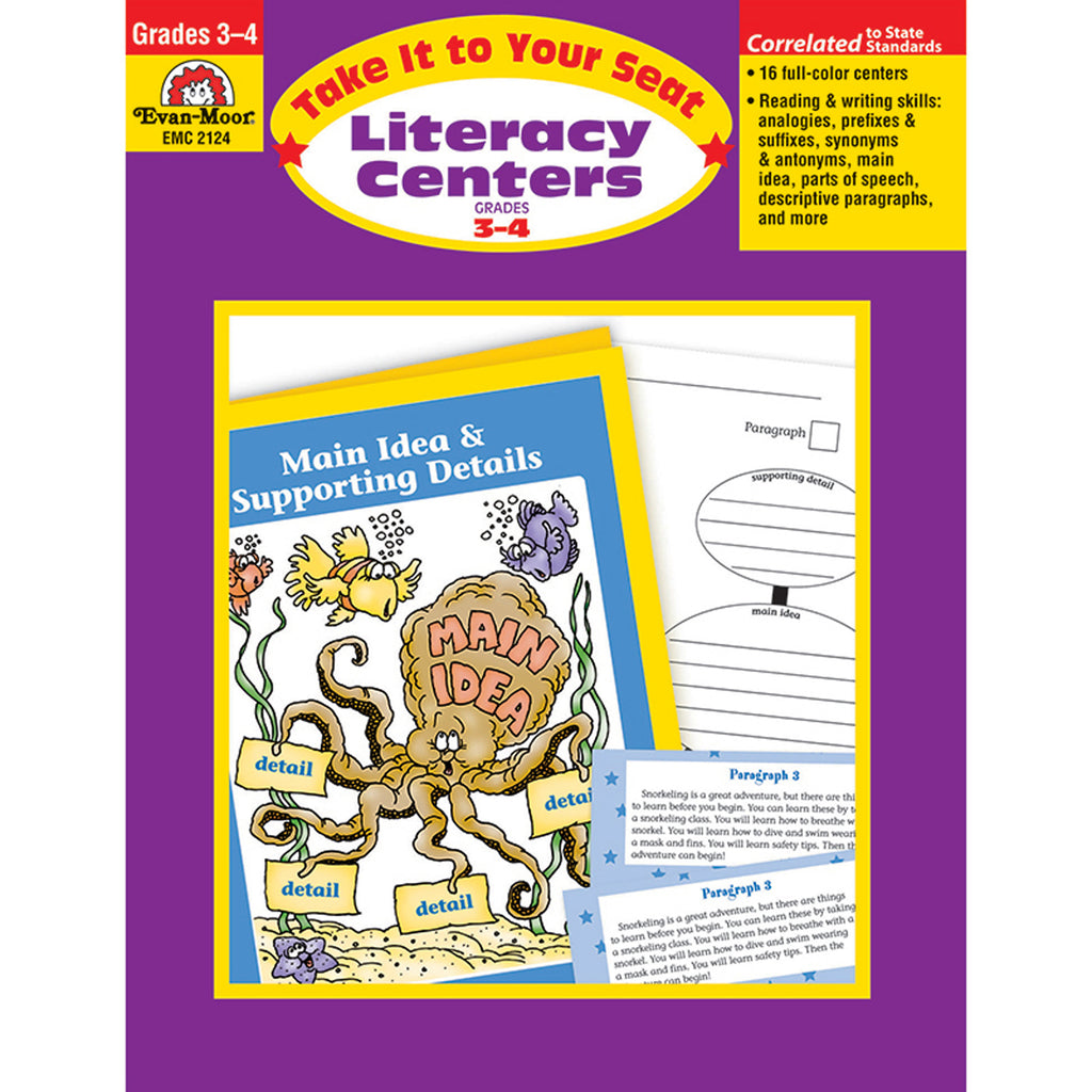 Evan-Moor Take It to Your Seat Literacy Centers Activity Book, Grades 3-4