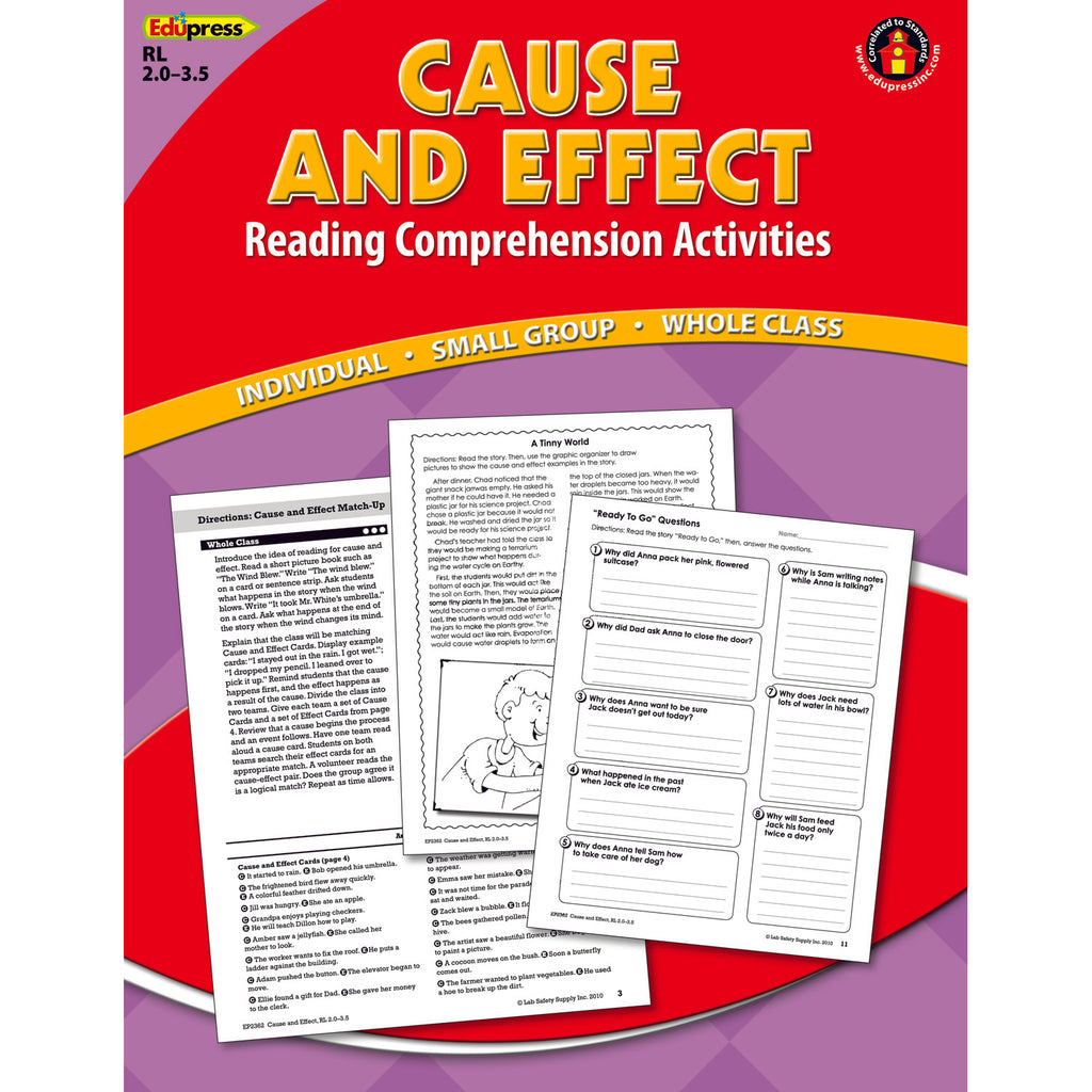 Teacher Created Resources Reading Comprehension Book, Cause & Effect, Red Level
