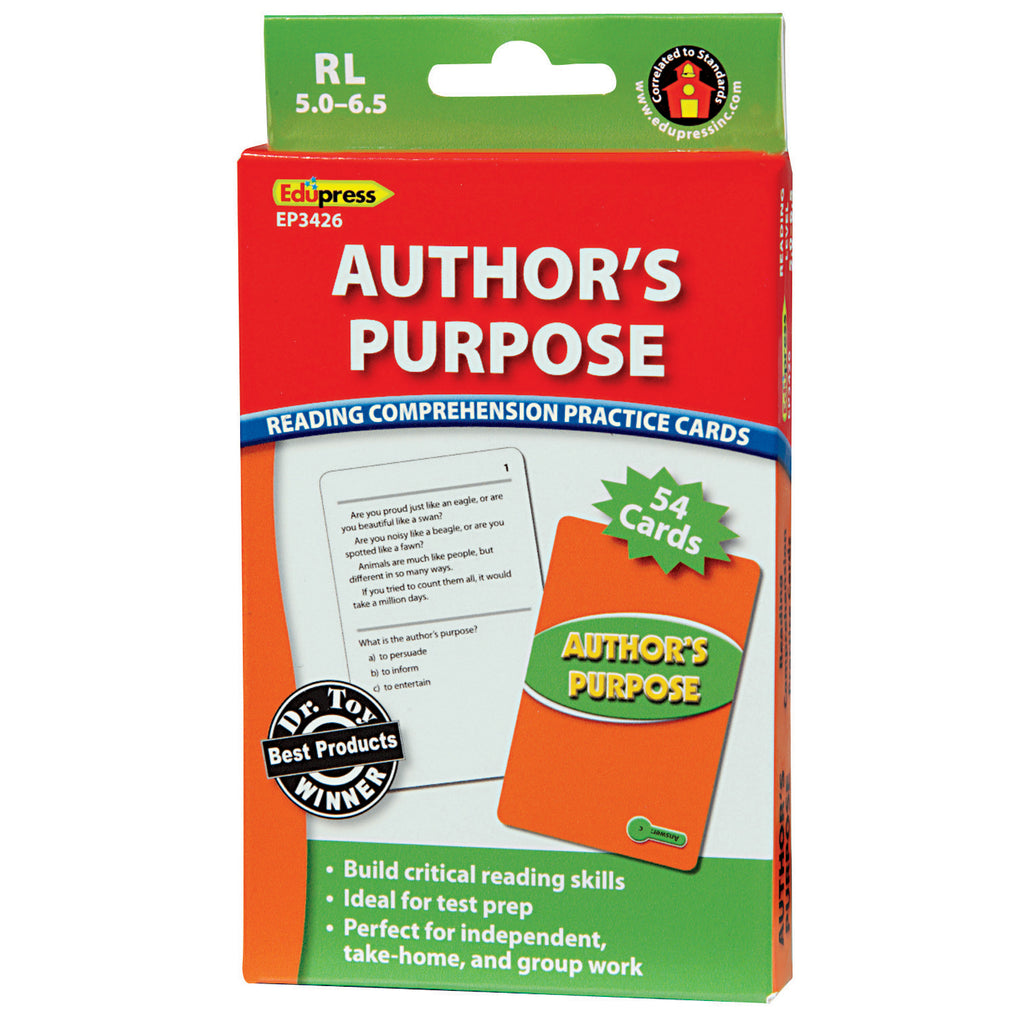Teacher Created Resources Author's Purpose Practice Cards, Green Level
