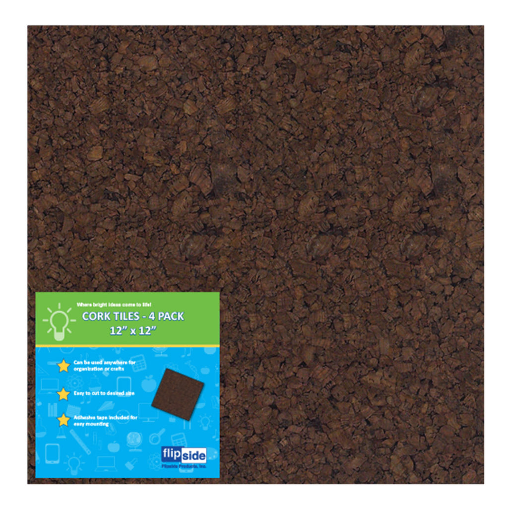 Flipside Dark Cork Tiles, 4 Pack