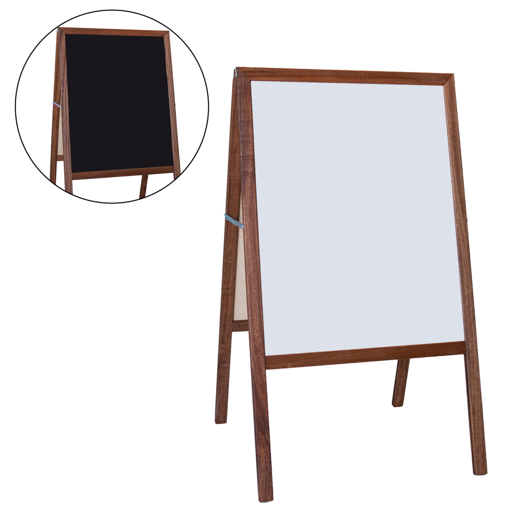 "Flipside Stained White Dry Erase/Black Chalkboard Marquee Easel, 42""H x 24""W"