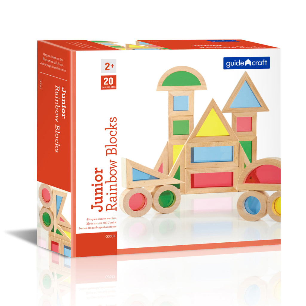 Guidecraft Jr. Rainbow Blocks, 20 Piece Set
