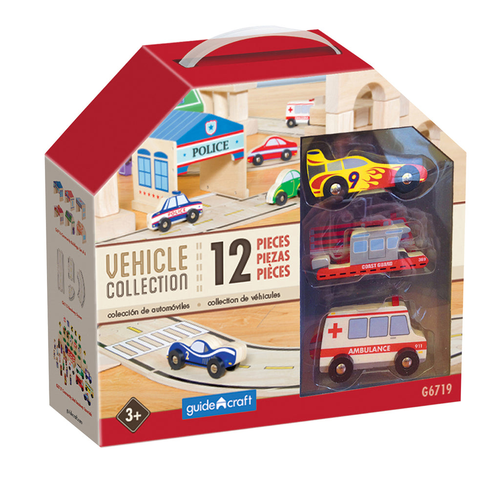 Guidecraft Wooden Vehicle Collection, Set of 12