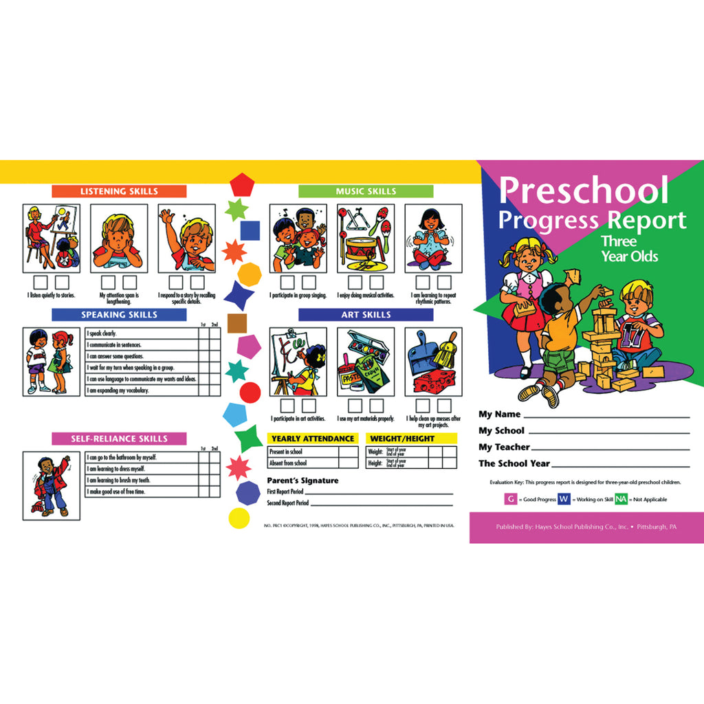 Hayes School Publishing Preschool Progress Report (3 Year Olds)