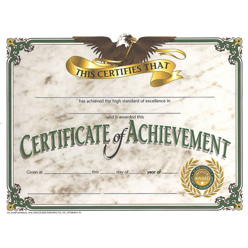 Hayes School Publishing Certificate of Achievement 2