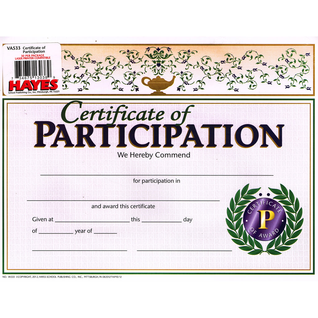 Hayes School Publishing Certificate of Participation 2