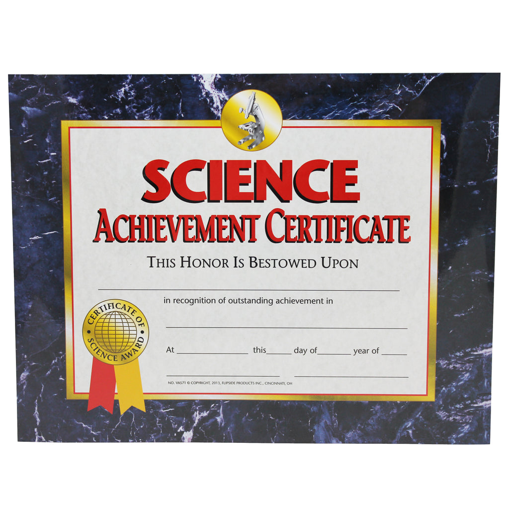 Hayes School Publishing Science Achievement Certificate