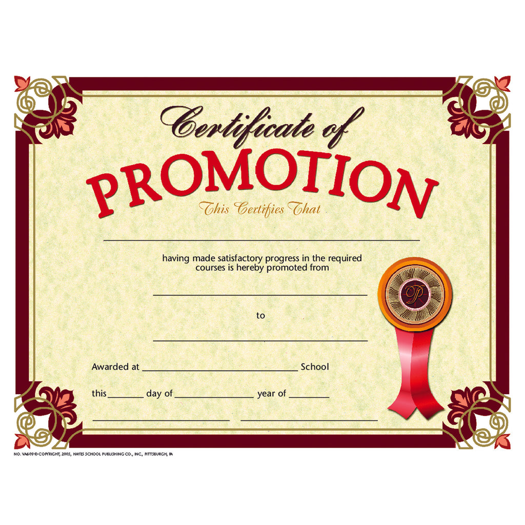 Hayes School Publishing Certificate of Promotion 2